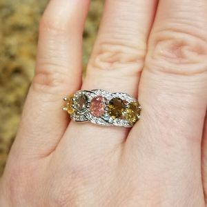 5-Stone Multi Tourmaline SS Ring